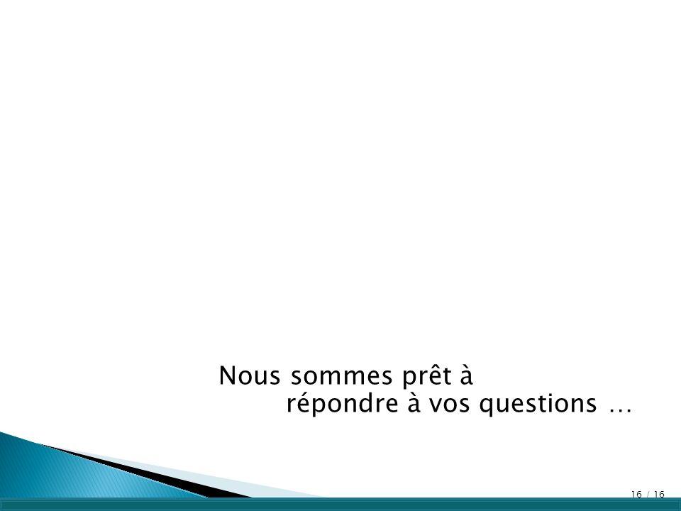 Nous sommes prêt à répondre à vos questions … 16 / 16