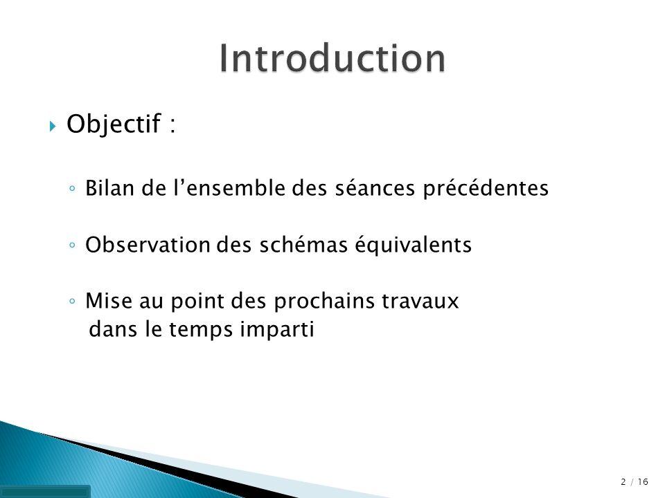 Objectif : Bilan de lensemble des séances précédentes Observation des schémas équivalents Mise au point des prochains travaux dans le temps imparti 2