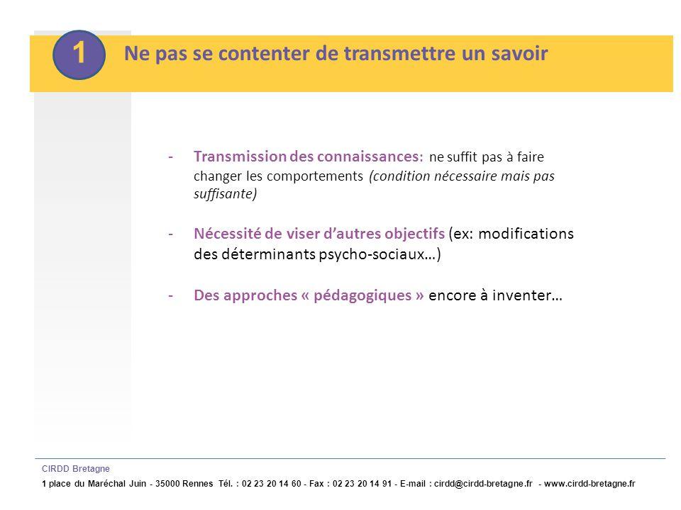 2 Communiquer à travers des messages adaptés CIRDD Bretagne 1 place du Maréchal Juin - 35000 Rennes Tél.