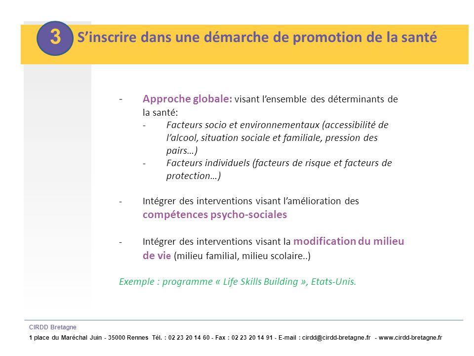 4 Sinscrire dans la durée CIRDD Bretagne 1 place du Maréchal Juin - 35000 Rennes Tél.