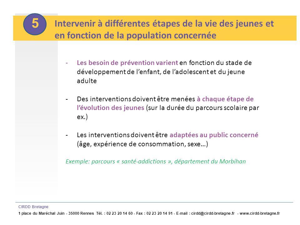 6 Articuler interventions universelles et interventions individuelles CIRDD Bretagne 1 place du Maréchal Juin - 35000 Rennes Tél.