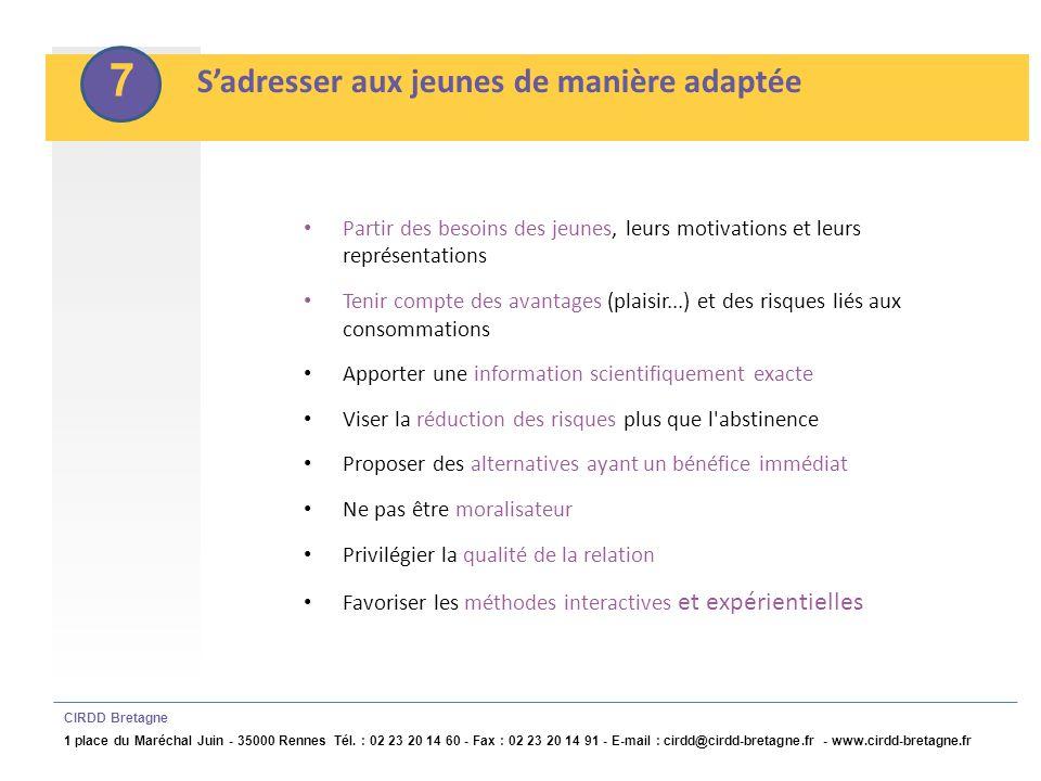 8 Impliquer les jeunes dans lélaboration, la mise en œuvre et lévaluation du projet CIRDD Bretagne 1 place du Maréchal Juin - 35000 Rennes Tél.