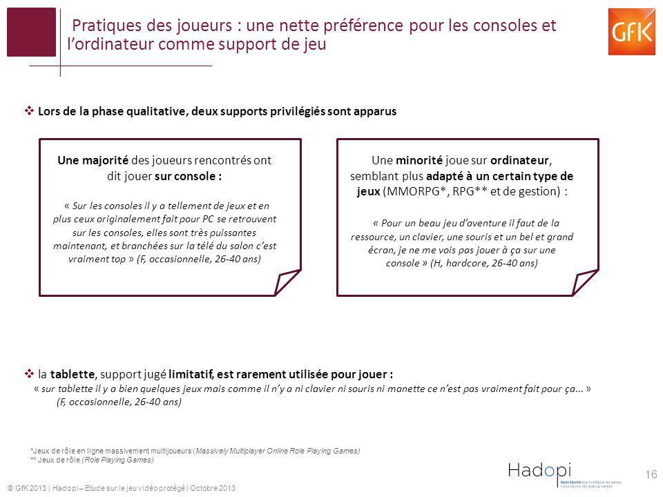 © GfK 2013   Hadopi – Etude sur le jeu vidéo protégé   Octobre 2013 Pratiques des joueurs : une nette préférence pour les consoles et lordinateur comm