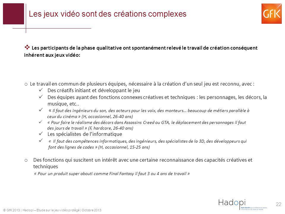 © GfK 2013   Hadopi – Etude sur le jeu vidéo protégé   Octobre 2013 Les jeux vidéo sont des créations complexes 22 o Le travail en commun de plusieurs