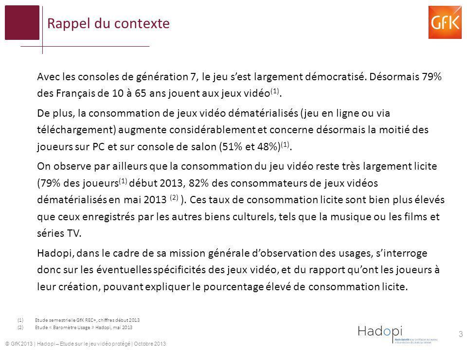 © GfK 2013   Hadopi – Etude sur le jeu vidéo protégé   Octobre 2013 Rappel des objectifs de létude Identifier et quantifier les comportements de consommation et dusages des jeux vidéo.