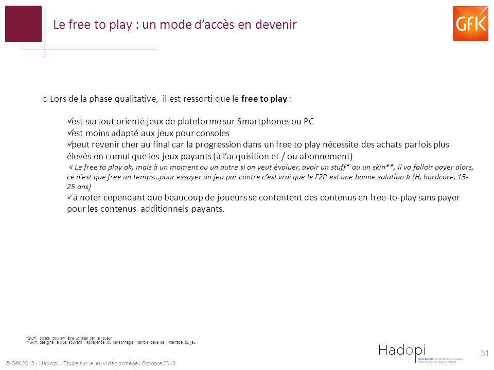 © GfK 2013   Hadopi – Etude sur le jeu vidéo protégé   Octobre 2013 o Lors de la phase qualitative, il est ressorti que le free to play : est surtout