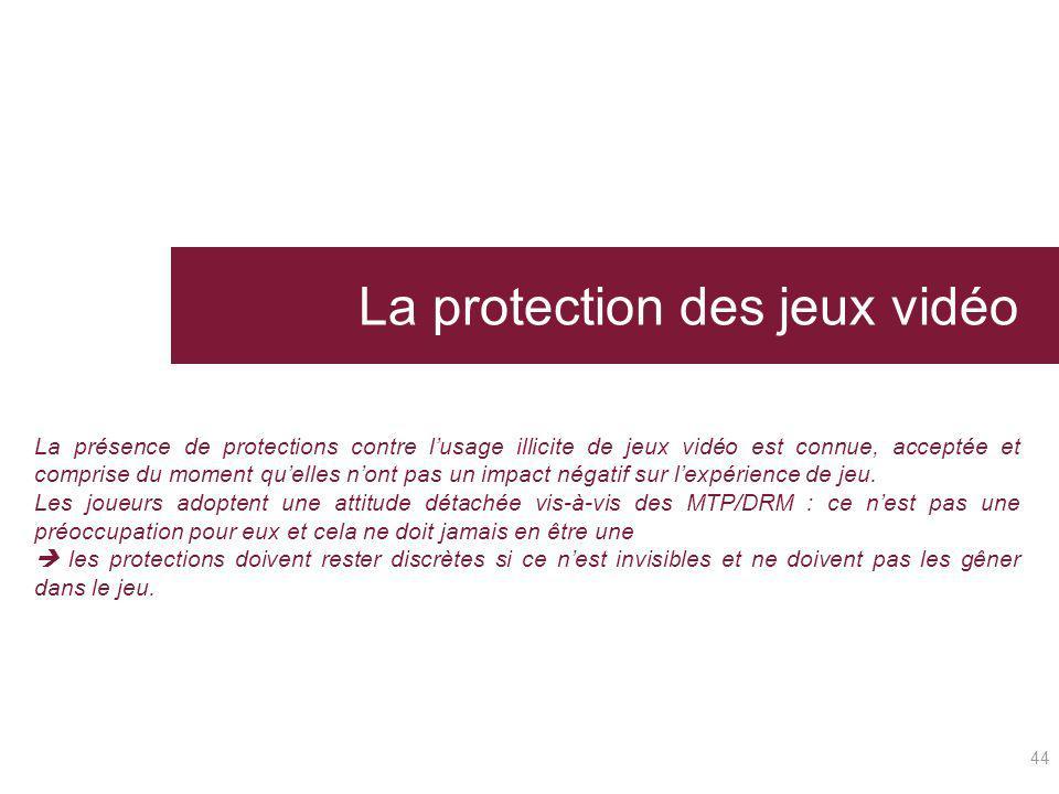 La protection des jeux vidéo 44 La présence de protections contre lusage illicite de jeux vidéo est connue, acceptée et comprise du moment quelles non