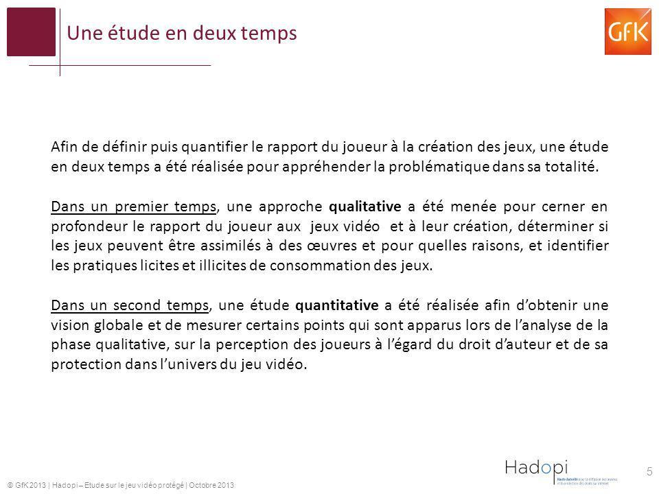 © GfK 2013   Hadopi – Etude sur le jeu vidéo protégé   Octobre 2013 5 Afin de définir puis quantifier le rapport du joueur à la création des jeux, une