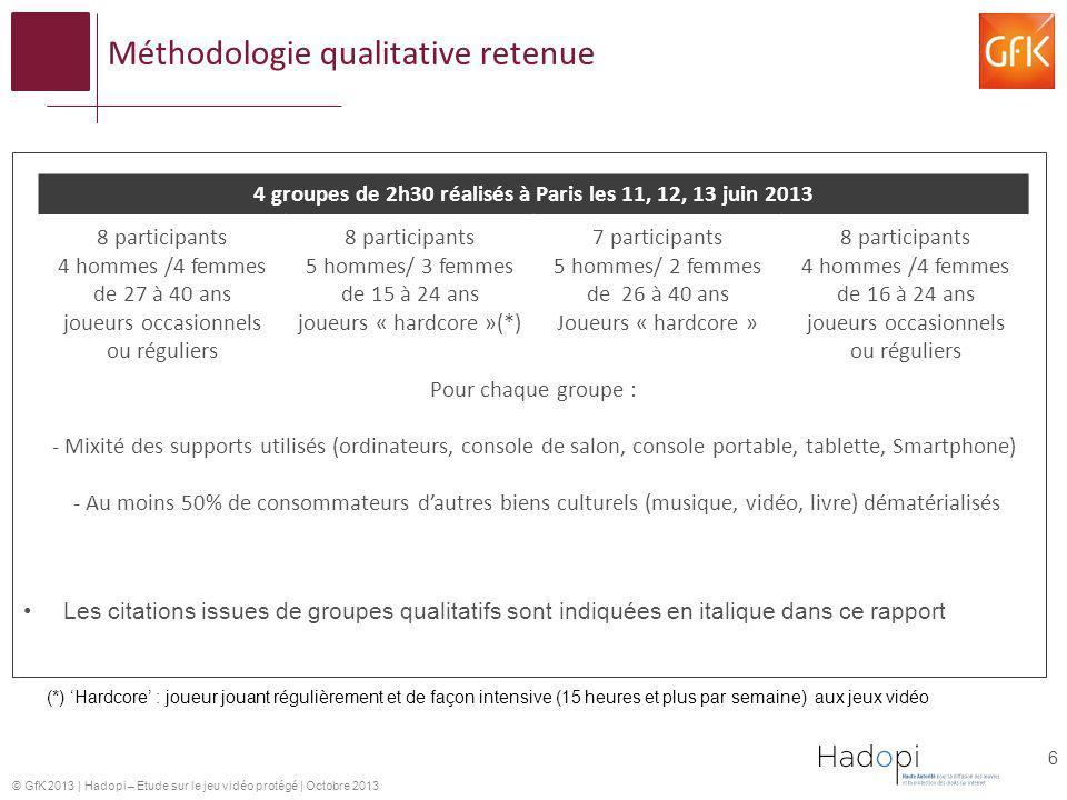 © GfK 2013   Hadopi – Etude sur le jeu vidéo protégé   Octobre 2013 Méthodologie qualitative retenue Les citations issues de groupes qualitatifs sont