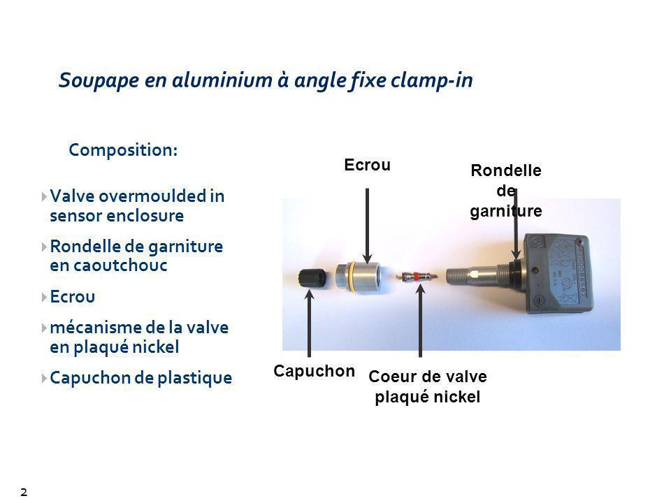 Soupape en aluminium à angle fixe clamp-in 26 Valve overmoulded in sensor enclosure Rondelle de garniture en caoutchouc Ecrou mécanisme de la valve en