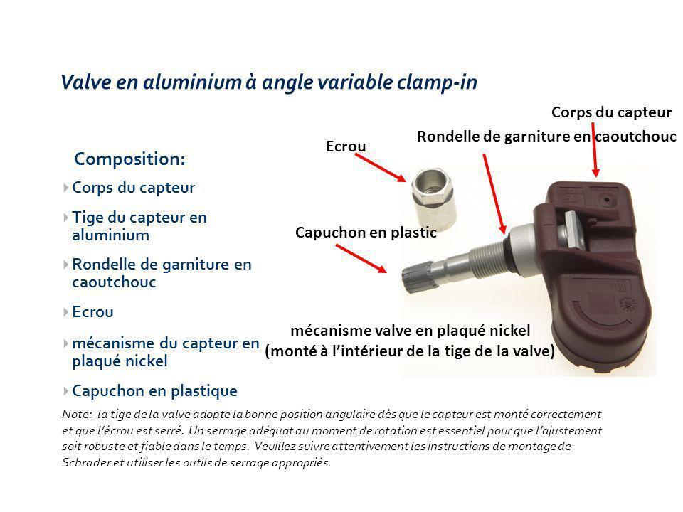 Note: la tige de la valve adopte la bonne position angulaire dès que le capteur est monté correctement et que lécrou est serré.