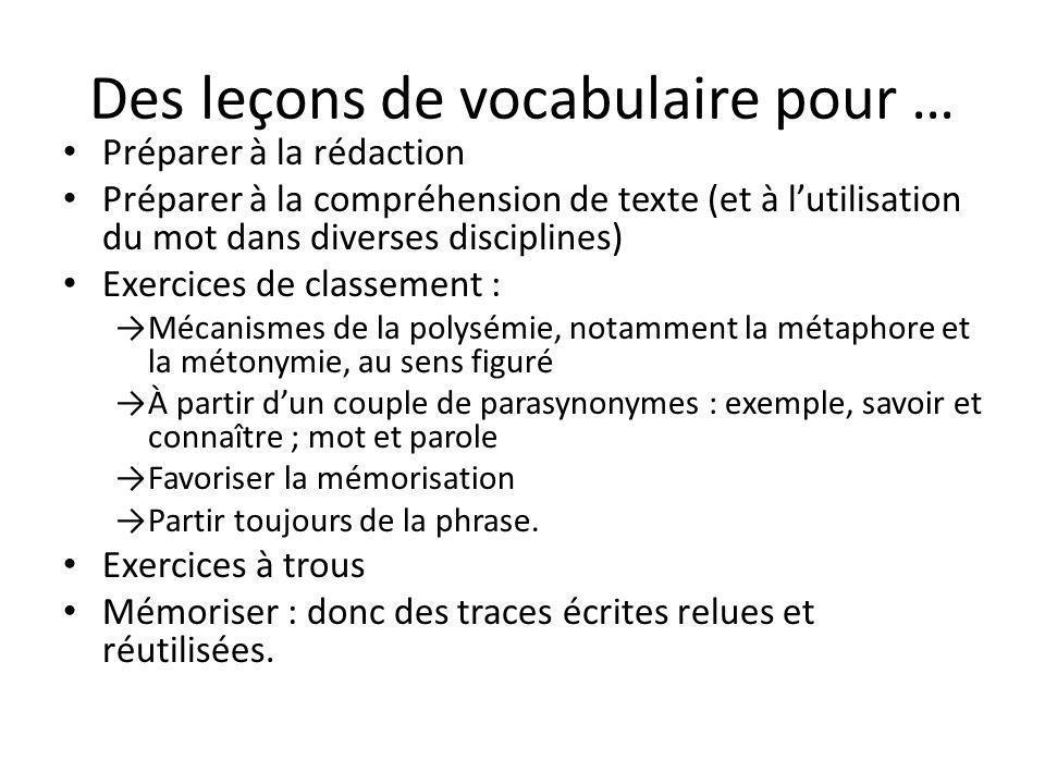 Des leçons de vocabulaire pour … Préparer à la rédaction Préparer à la compréhension de texte (et à lutilisation du mot dans diverses disciplines) Exe