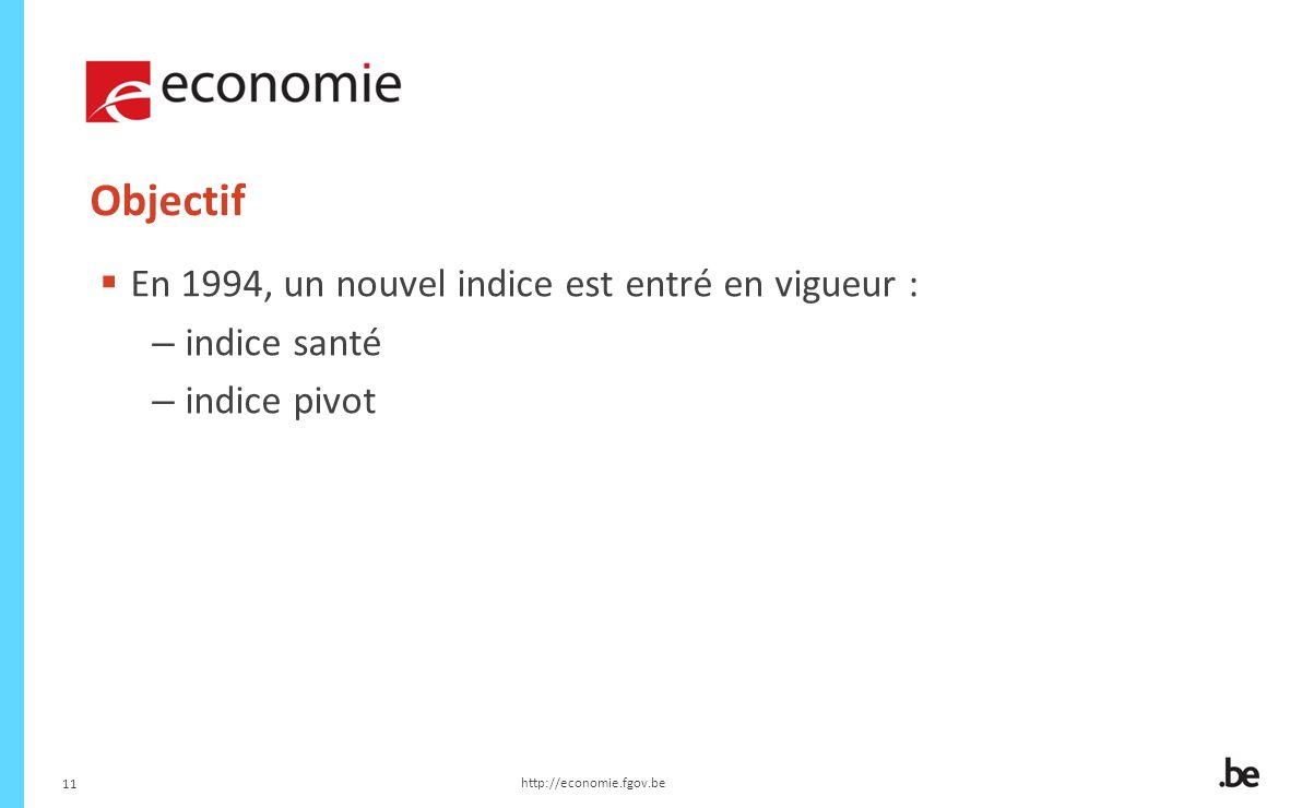 11 Objectif En 1994, un nouvel indice est entré en vigueur : – indice santé – indice pivot http://economie.fgov.be