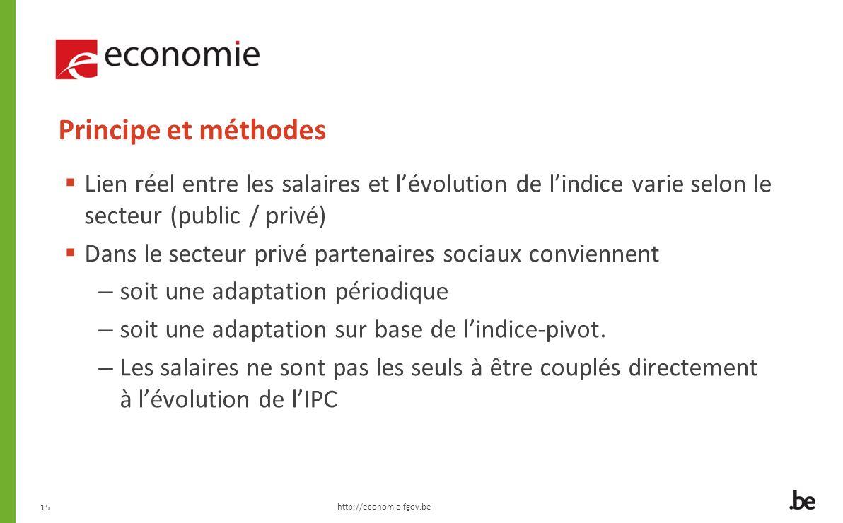 15 Principe et méthodes Lien réel entre les salaires et lévolution de lindice varie selon le secteur (public / privé) Dans le secteur privé partenaires sociaux conviennent – soit une adaptation périodique – soit une adaptation sur base de lindice-pivot.