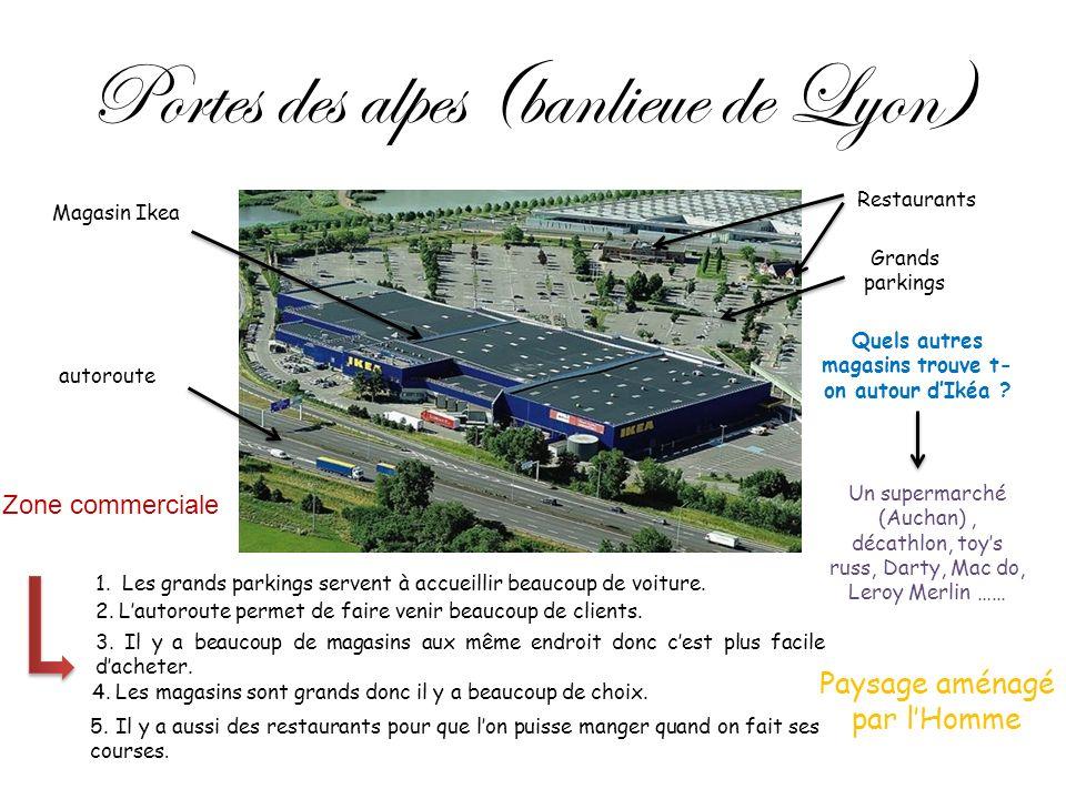 Portes des alpes (banlieue de Lyon) Magasin Ikea Grands parkings Restaurants autoroute Quels autres magasins trouve t- on autour dIkéa ? Zone commerci