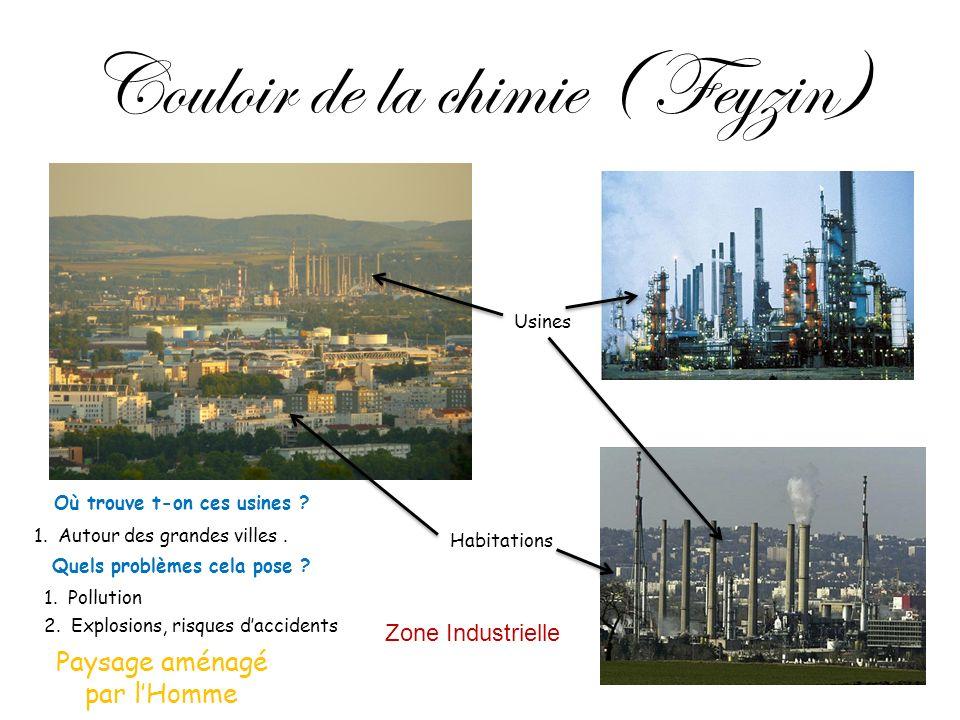 Couloir de la chimie ( Feyzin) Zone Industrielle Usines Habitations Où trouve t-on ces usines ? 1. Autour des grandes villes. Quels problèmes cela pos