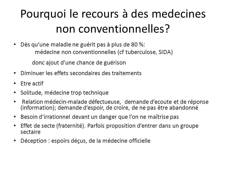 Pourquoi le recours à des medecines non conventionnelles? Dès quune maladie ne guérit pas à plus de 80 %: médecine non conventionnelles (cf tuberculos