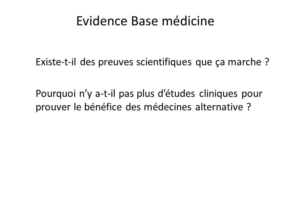 Pourquoi ny a-t-il pas plus détudes cliniques pour prouver le bénéfice des médecines alternative ? Evidence Base médicine Existe-t-il des preuves scie