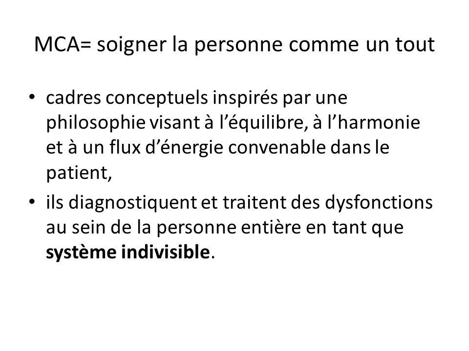 MCA= soigner la personne comme un tout cadres conceptuels inspirés par une philosophie visant à léquilibre, à lharmonie et à un flux dénergie convenable dans le patient, ils diagnostiquent et traitent des dysfonctions au sein de la personne entière en tant que système indivisible.