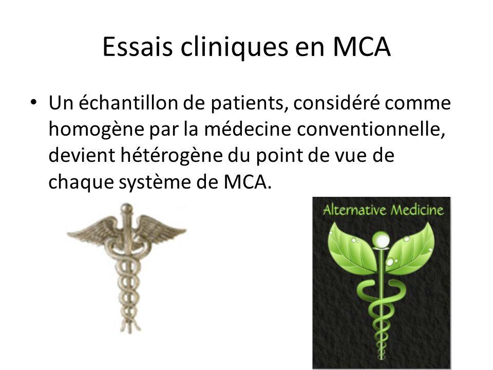 Essais cliniques en MCA Un échantillon de patients, considéré comme homogène par la médecine conventionnelle, devient hétérogène du point de vue de chaque système de MCA.