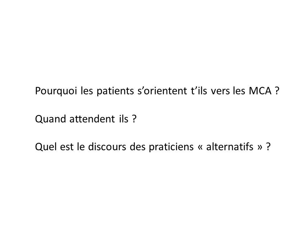 Pourquoi les patients sorientent tils vers les MCA ? Quand attendent ils ? Quel est le discours des praticiens « alternatifs » ?
