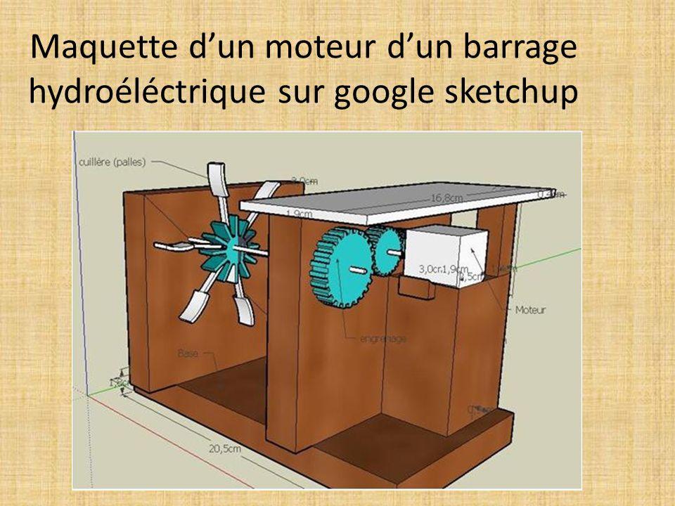 Maquette dun moteur dun barrage hydroéléctrique sur google sketchup
