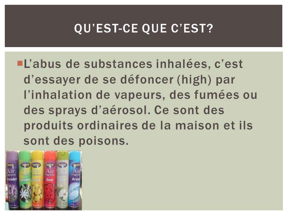 Labus de substances inhalées, cest dessayer de se défoncer (high) par linhalation de vapeurs, des fumées ou des sprays daérosol. Ce sont des produits