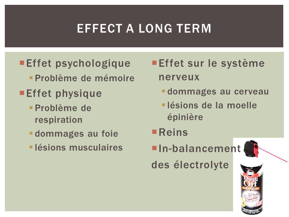 Effet psychologique Problème de mémoire Effet physique Problème de respiration dommages au foie lésions musculaires Effet sur le système nerveux domma