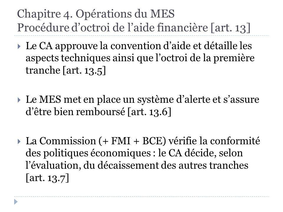 Chapitre 4. Opérations du MES Procédure doctroi de laide financière [art.