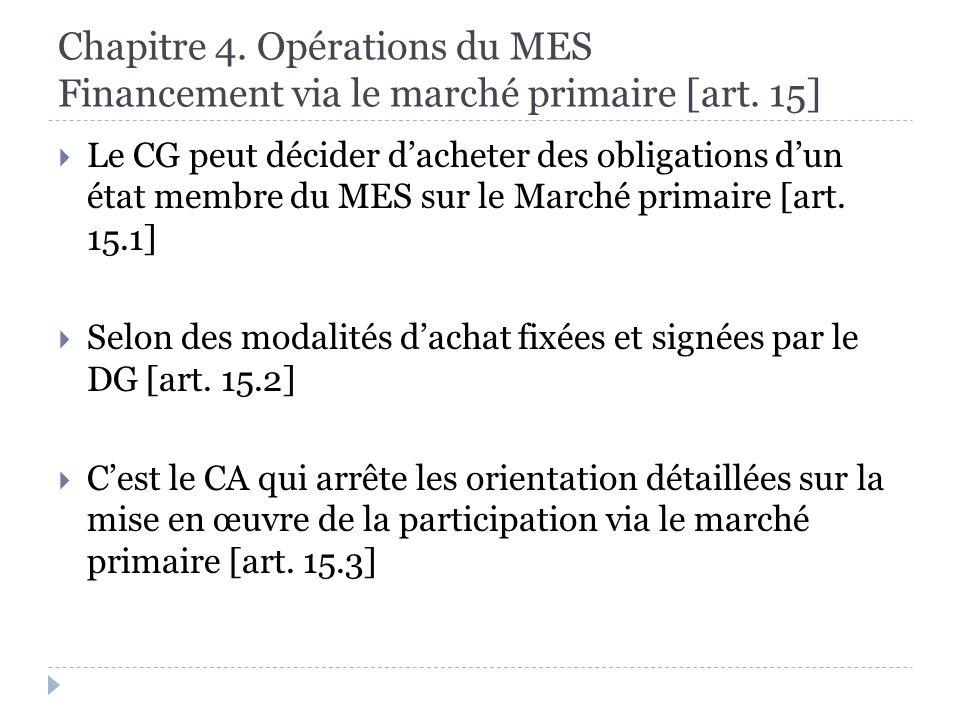 Chapitre 4. Opérations du MES Financement via le marché primaire [art.