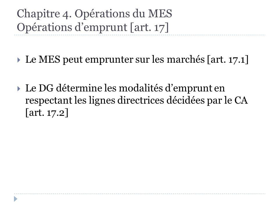 Chapitre 4. Opérations du MES Opérations demprunt [art.