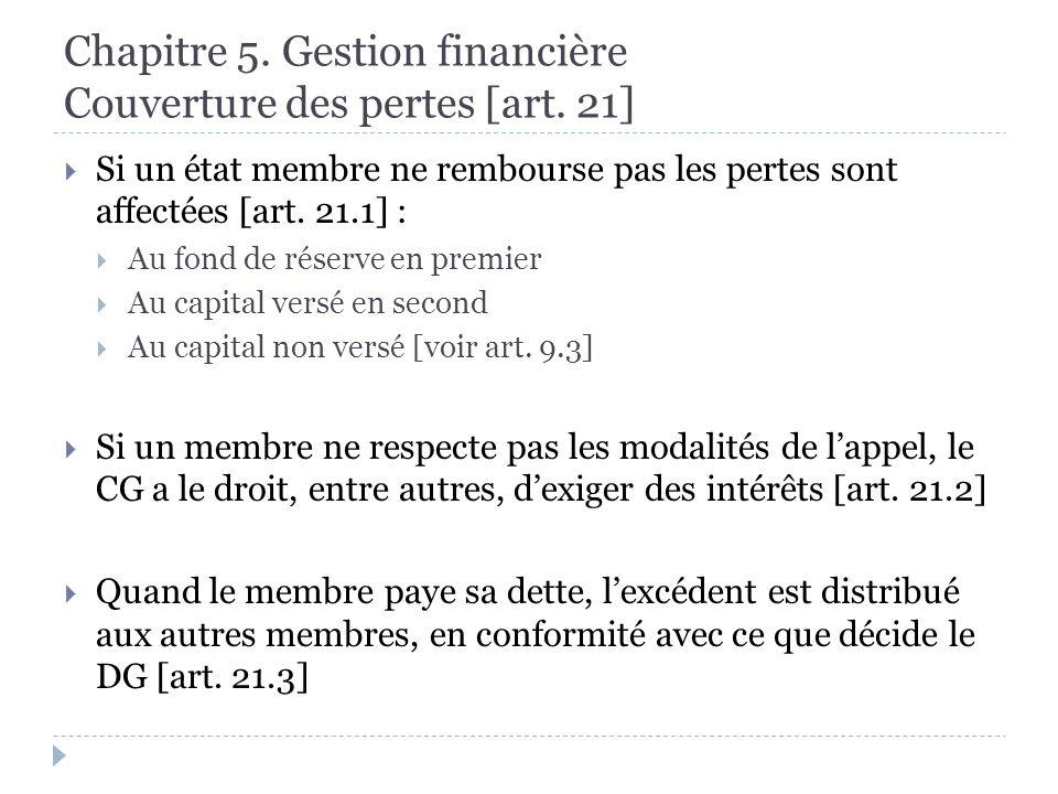 Chapitre 5. Gestion financière Couverture des pertes [art.