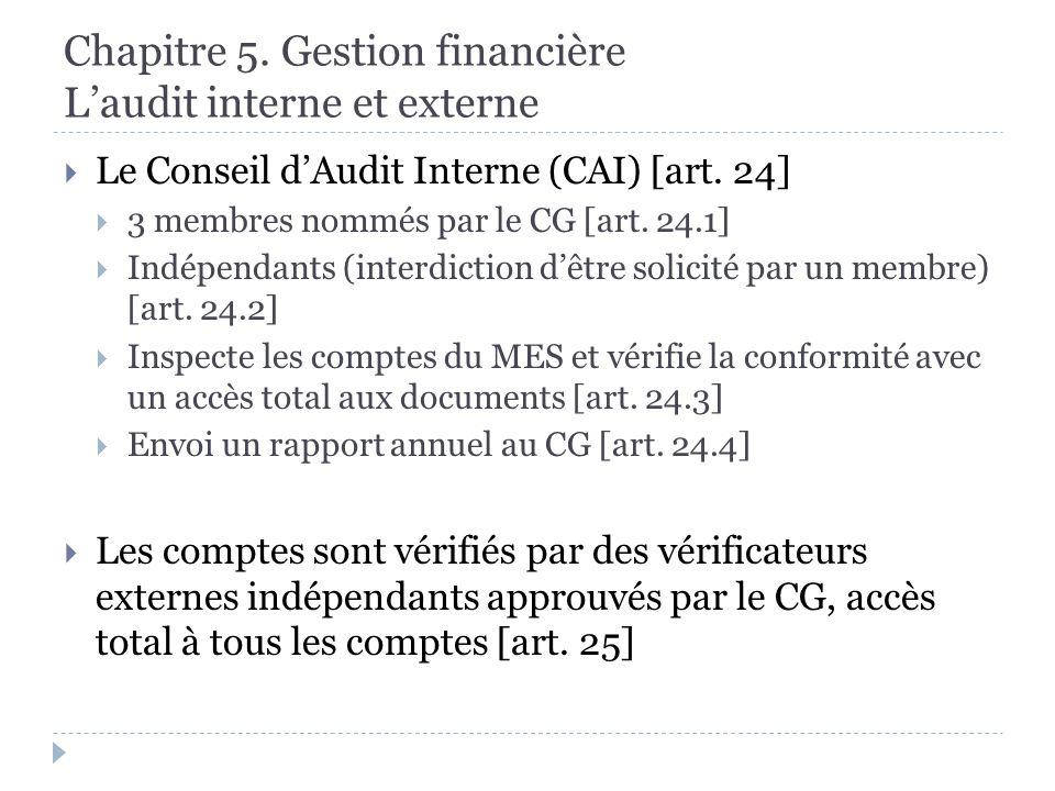 Chapitre 5. Gestion financière Laudit interne et externe Le Conseil dAudit Interne (CAI) [art.