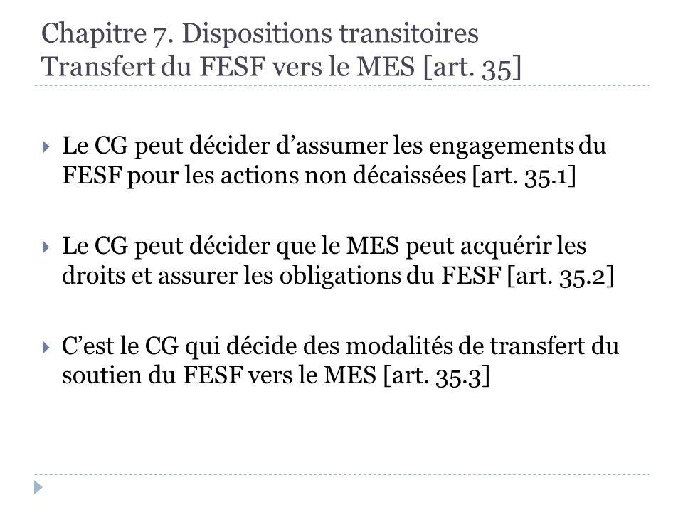 Chapitre 7. Dispositions transitoires Transfert du FESF vers le MES [art.