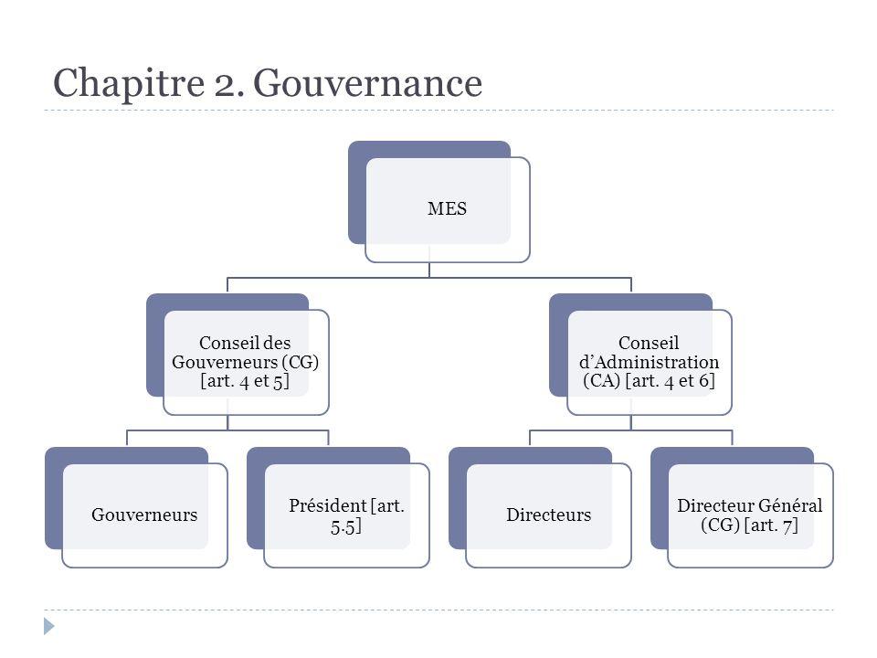 Chapitre 2. Gouvernance MES Conseil des Gouverneurs (CG) [art.