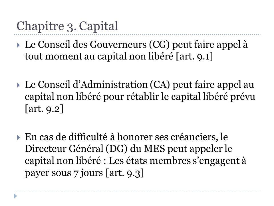 Le Conseil des Gouverneurs (CG) peut faire appel à tout moment au capital non libéré [art.
