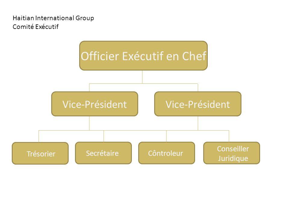 Officier Exécutif en Chef Trésorier Conseiller Juridique CôntroleurSecrétaire Vice-Président Haitian International Group Comité Exécutif