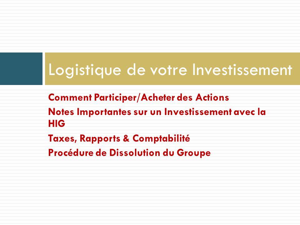 Comment Participer/Acheter des Actions Notes Importantes sur un Investissement avec la HIG Taxes, Rapports & Comptabilité Procédure de Dissolution du Groupe Logistique de votre Investissement