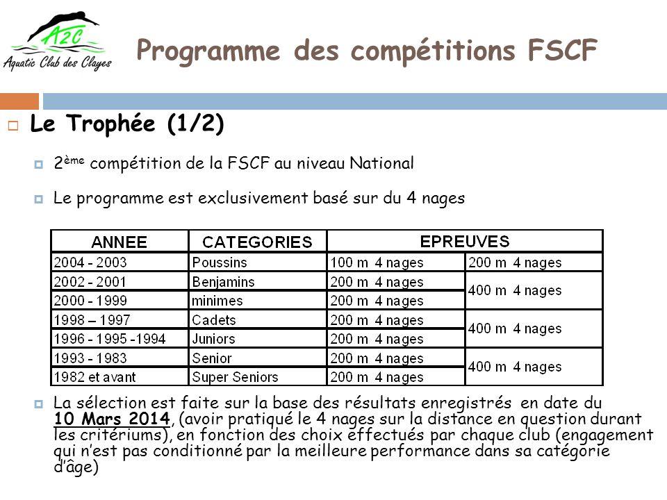 Programme des compétitions FSCF Le Trophée (2/2) Des relais 4 nages complètent cette manifestation 4 * 100 m 4 nages Équipe composée par 4 nageurs (ses) de catégories dâge différentes Le club ne peut engager quun seul nageur et une seule nageuse par épreuve de 4 nages soit un maximum de 22 engagements (11 H et 11 F) Cette manifestation donne lieu exclusivement à un classement des clubs (pas de classement individuel) Compétition programmée le 22 Mars 2014 à Les Clayes sous Bois (CNV)