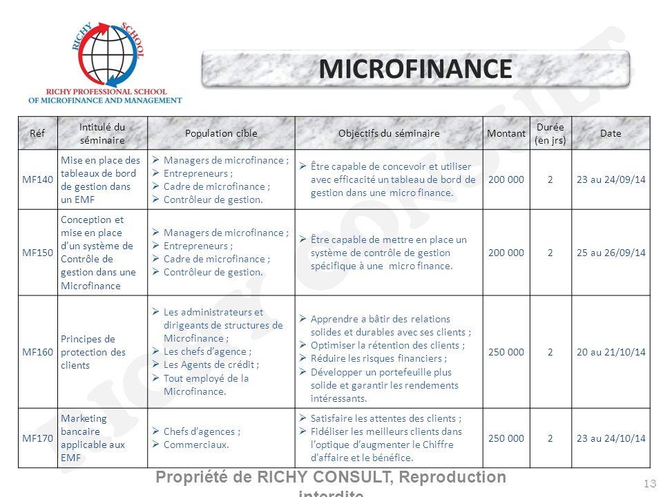 RICHY CONSULT 13 Réf Intitulé du séminaire Population cibleObjectifs du séminaireMontant Durée (en jrs) Date MF140 Mise en place des tableaux de bord de gestion dans un EMF Managers de microfinance ; Entrepreneurs ; Cadre de microfinance ; Contrôleur de gestion.