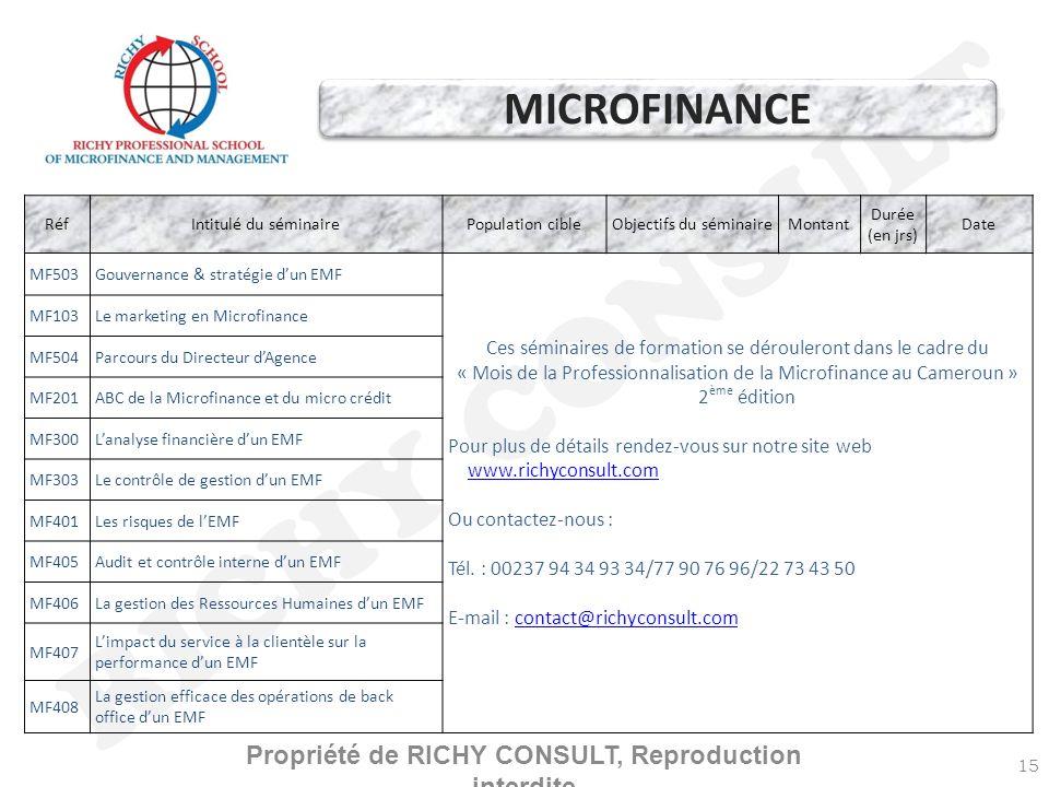 RICHY CONSULT 15 RéfIntitulé du séminairePopulation cibleObjectifs du séminaireMontant Durée (en jrs) Date MF503Gouvernance & stratégie dun EMF Ces séminaires de formation se dérouleront dans le cadre du « Mois de la Professionnalisation de la Microfinance au Cameroun » 2 ème édition Pour plus de détails rendez-vous sur notre site web www.richyconsult.com www.richyconsult.com Ou contactez-nous : Tél.