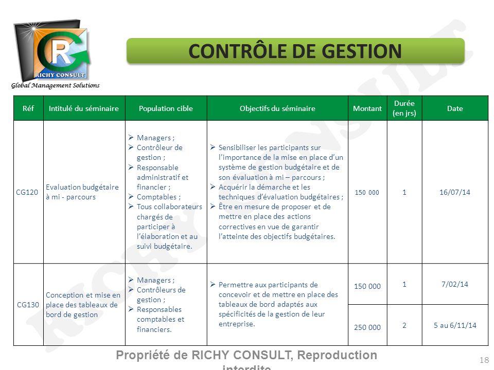 RICHY CONSULT 18 RéfIntitulé du séminairePopulation cibleObjectifs du séminaireMontant Durée (en jrs) Date CG120 Evaluation budgétaire à mi - parcours