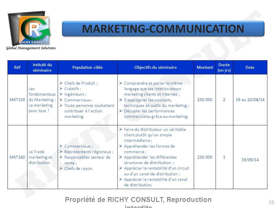 RICHY CONSULT 35 Réf Intitulé du séminaire Population cibleObjectifs du séminaireMontant Durée (en jrs) Date MKT150 Les fondamentaux du Marketing : Le marketing pour tous .