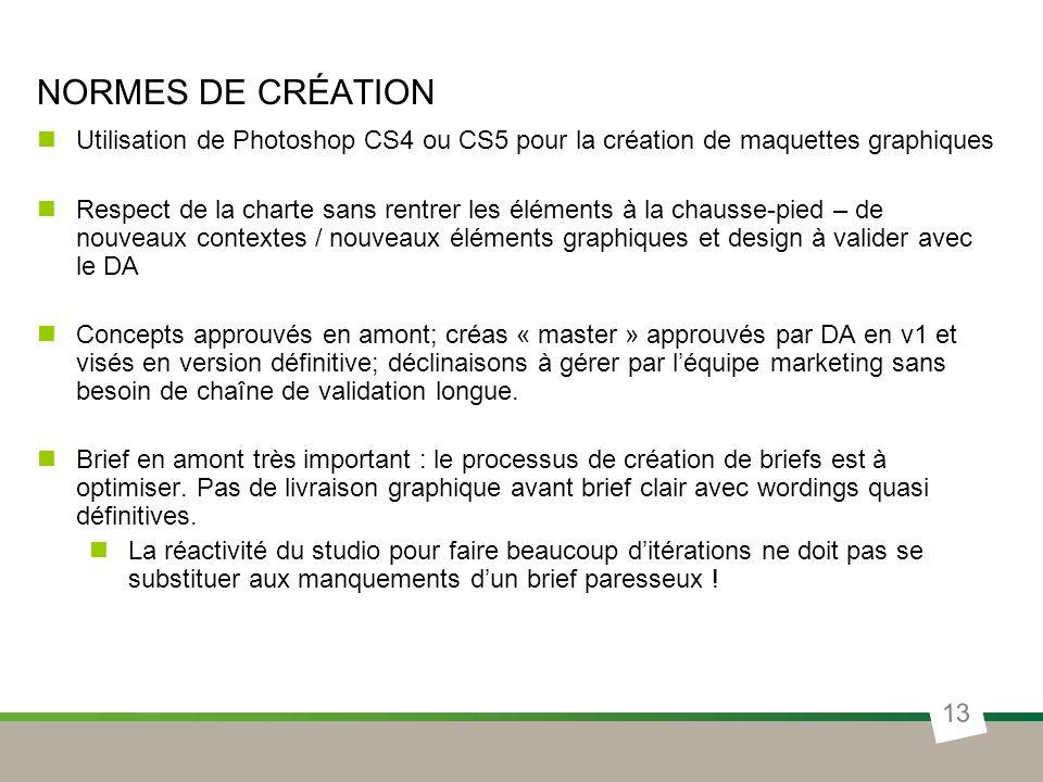 NORMES DE CRÉATION 13 Utilisation de Photoshop CS4 ou CS5 pour la création de maquettes graphiques Respect de la charte sans rentrer les éléments à la