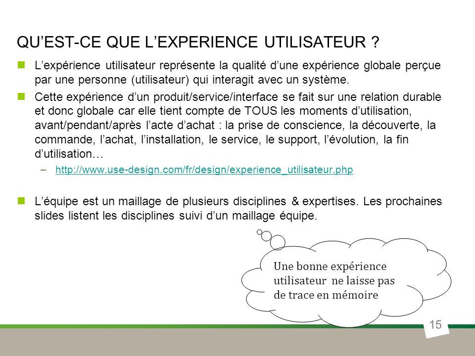 QUEST-CE QUE LEXPERIENCE UTILISATEUR ? Lexpérience utilisateur représente la qualité dune expérience globale perçue par une personne (utilisateur) qui