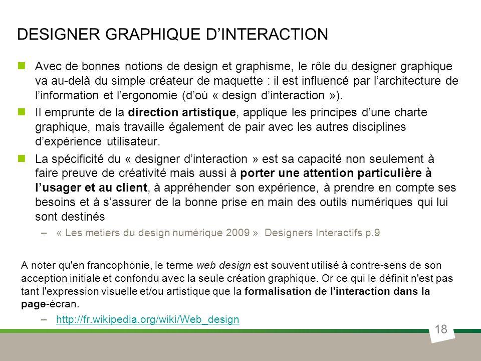 DESIGNER GRAPHIQUE DINTERACTION Avec de bonnes notions de design et graphisme, le rôle du designer graphique va au-delà du simple créateur de maquette