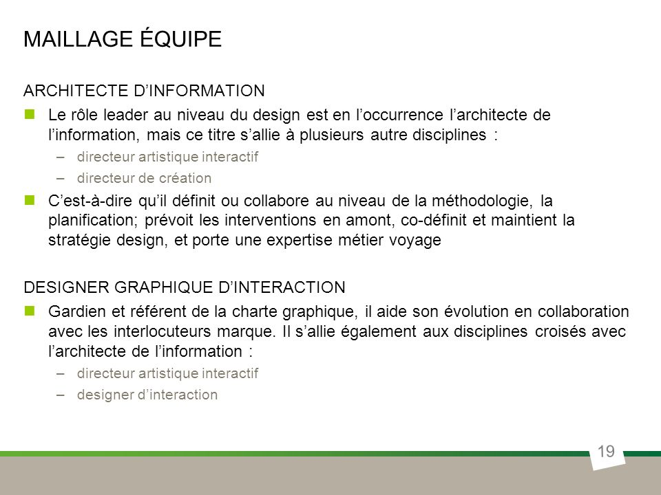MAILLAGE ÉQUIPE ARCHITECTE DINFORMATION Le rôle leader au niveau du design est en loccurrence larchitecte de linformation, mais ce titre sallie à plus