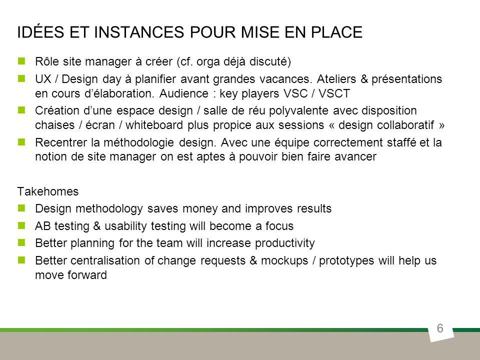IDÉES ET INSTANCES POUR MISE EN PLACE Rôle site manager à créer (cf. orga déjà discuté) UX / Design day à planifier avant grandes vacances. Ateliers &