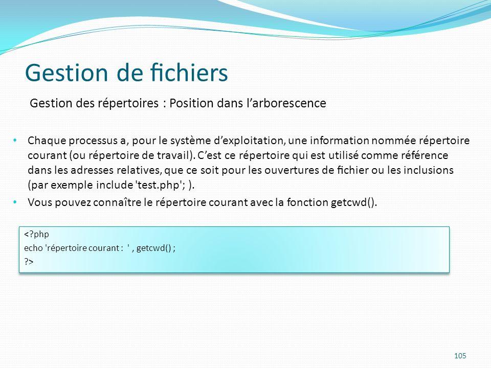 Gestion de chiers 105 Gestion des répertoires : Position dans larborescence Chaque processus a, pour le système dexploitation, une information nommée répertoire courant (ou répertoire de travail).