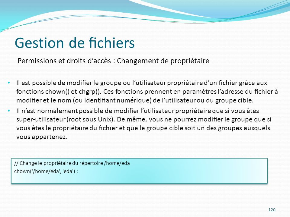 Gestion de chiers 120 Permissions et droits daccès : Changement de propriétaire Il est possible de modier le groupe ou lutilisateur propriétaire dun chier grâce aux fonctions chown() et chgrp().